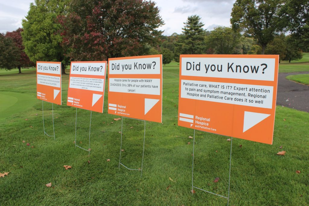 promotion signs on golf course for regional hospice